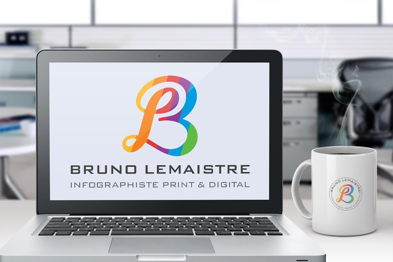 Logo monogramme Bruno Lemaistre. Portfolio de Bruno Lemaistre, graphiste freelance à Paris