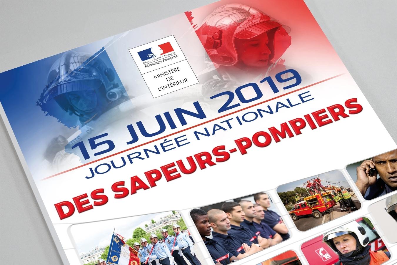 Journée nationale sapeurs-pompiers France. Portfolio de Bruno Lemaistre, graphiste freelance à Paris