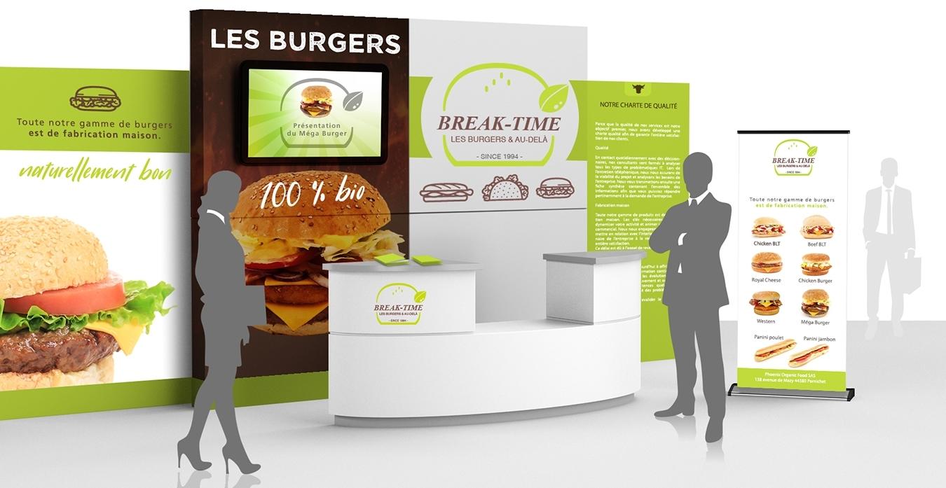 Break-Time Pizz & Burger. Portfolio de Bruno Lemaistre, graphiste freelance à Paris