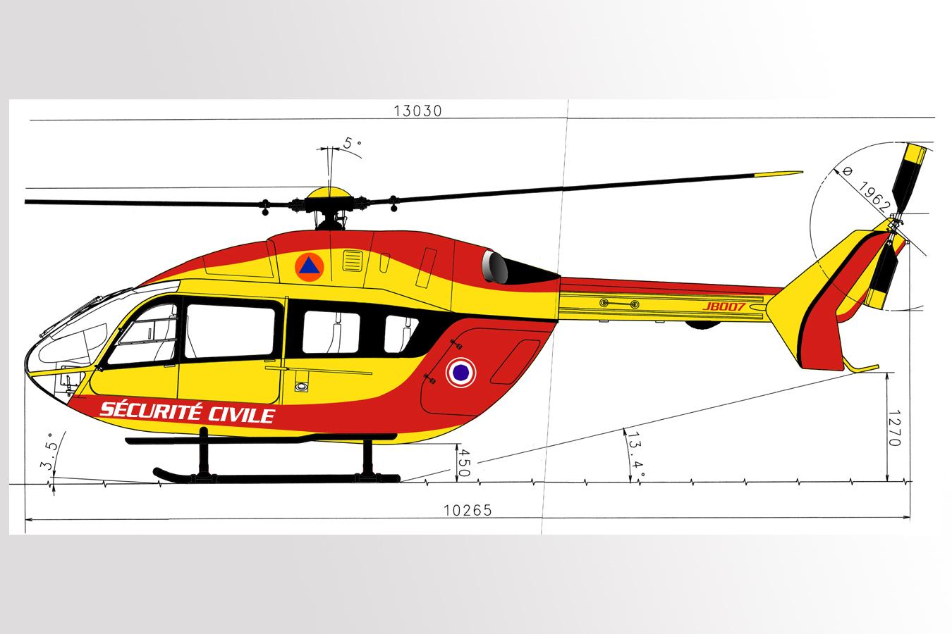 Identité visuelle hélicoptère Sécurité civile