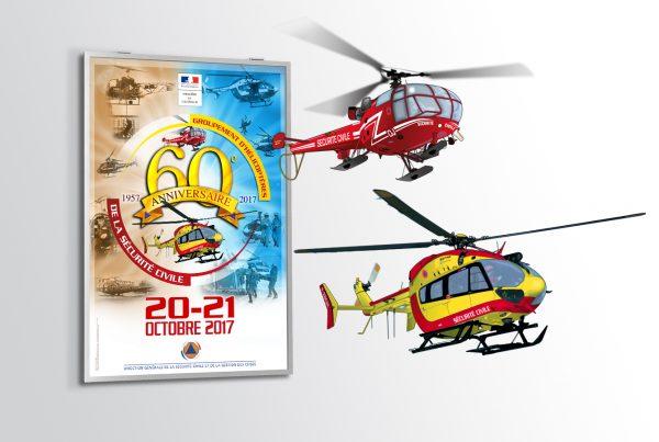 Anniversaire groupement hélicoptères. Portfolio de Bruno Lemaistre, graphiste freelance à Paris